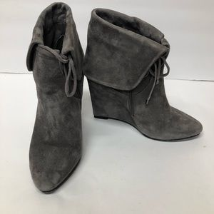 White House Black Market Suede Wedge Ankle Boots